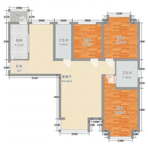 闽辉禧瑞都二期3室2厅2卫1厨129.00㎡户型图