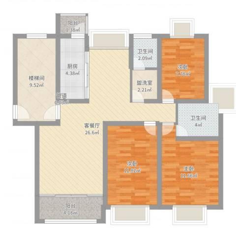 上海花园别墅3室2厅2卫1厨107.00㎡户型图