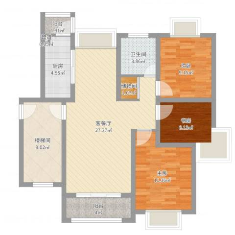 上海花园别墅3室2厅1卫1厨97.00㎡户型图