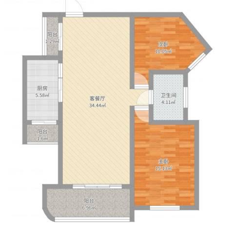 上海莘城2室2厅1卫1厨99.00㎡户型图