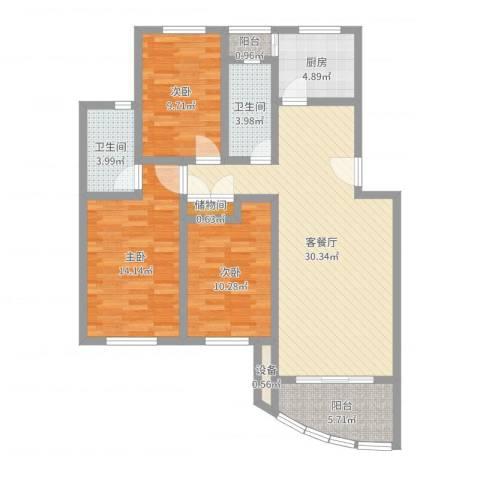 上海莘城3室2厅2卫1厨106.00㎡户型图
