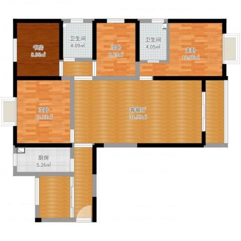 腾瑞・幸福里4室2厅2卫1厨132.00㎡户型图