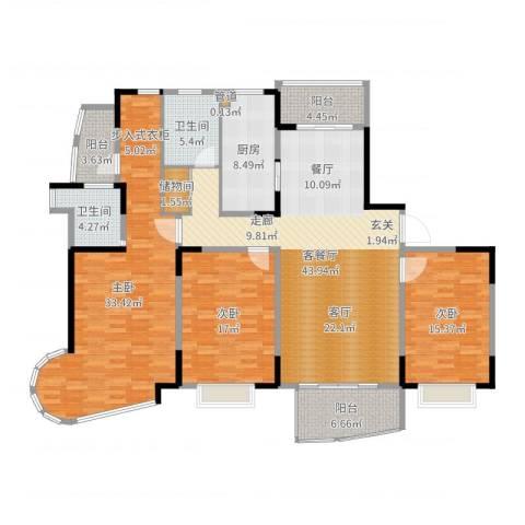 嘉禾现代城3室2厅2卫1厨180.00㎡户型图