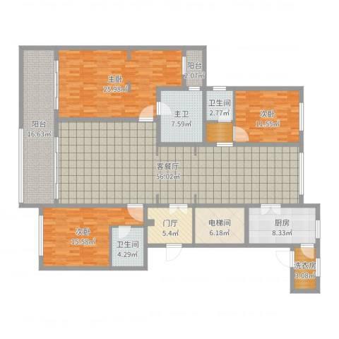 同进君望3室2厅2卫1厨209.00㎡户型图