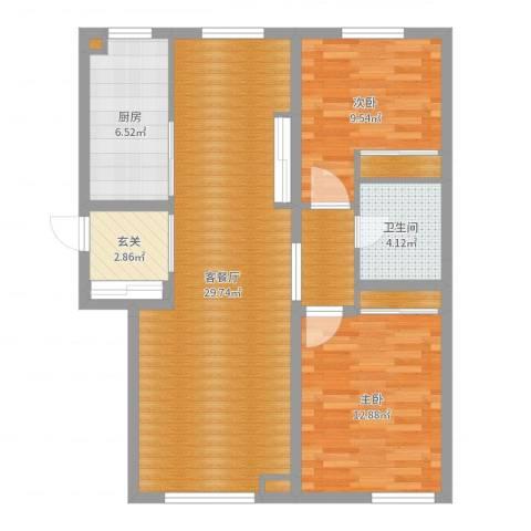 尚层社区2室2厅1卫1厨88.00㎡户型图