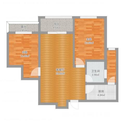 宝带小区2室2厅1卫1厨92.00㎡户型图