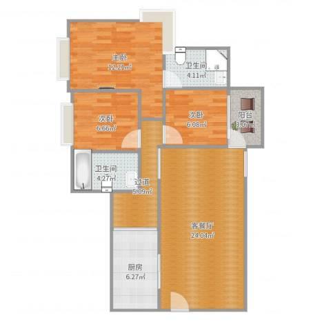 凤岗东江花园3室2厅2卫1厨90.00㎡户型图