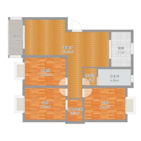 天顺花园3室2厅1卫1厨131.00㎡户型图