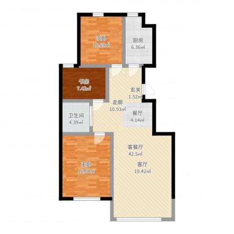东皇先锋3室2厅1卫1厨110.00㎡户型图