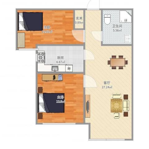 万科仕林苑2室1厅1卫1厨82.00㎡户型图
