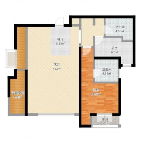 亿城堂庭1室1厅2卫1厨103.00㎡户型图