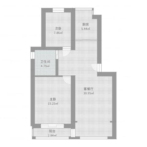 荷风华庭2室2厅1卫1厨84.00㎡户型图