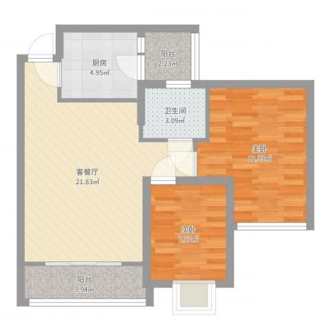 虎门海燕楼2室2厅1卫1厨70.00㎡户型图