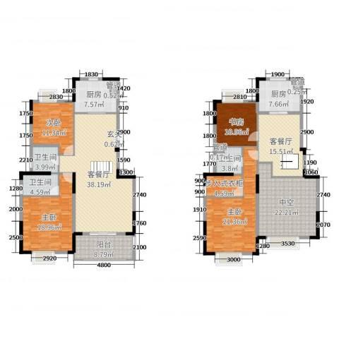 万达西双版纳国际度假区4室4厅3卫2厨191.00㎡户型图