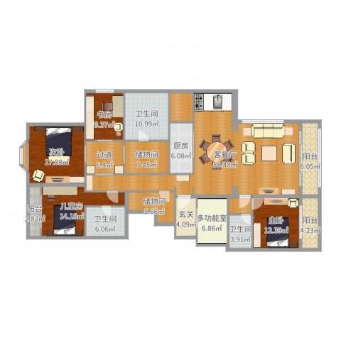 万科翡翠滨江4室2厅3卫1厨231.00㎡户型图
