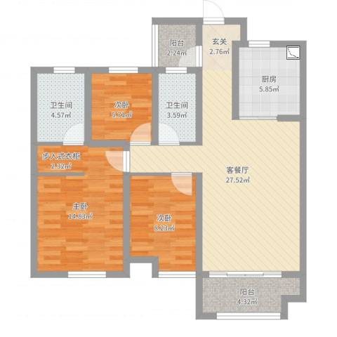 金域华府3室2厅2卫1厨76.87㎡户型图