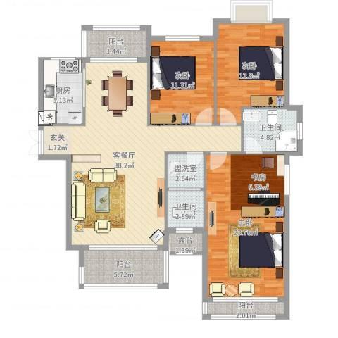 锦天・生态城3室4厅2卫1厨141.00㎡户型图