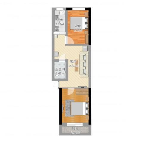 中华小区1室1厅1卫1厨55.00㎡户型图