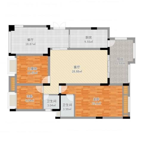 金色维也纳小区3室2厅2卫1厨149.00㎡户型图