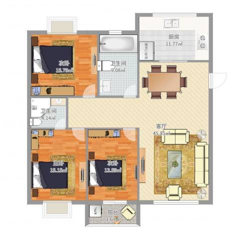 新天地西区3室1厅2卫1厨149.00㎡户型图