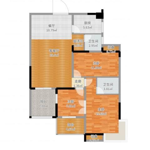 万里江山3室2厅2卫1厨121.00㎡户型图