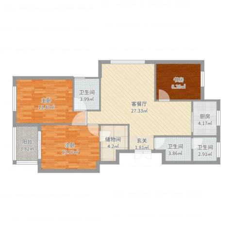 城市港湾3室2厅3卫1厨107.00㎡户型图
