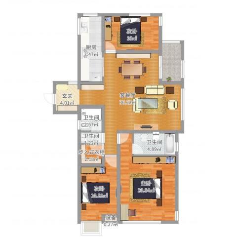 金域华府3室2厅3卫1厨125.00㎡户型图