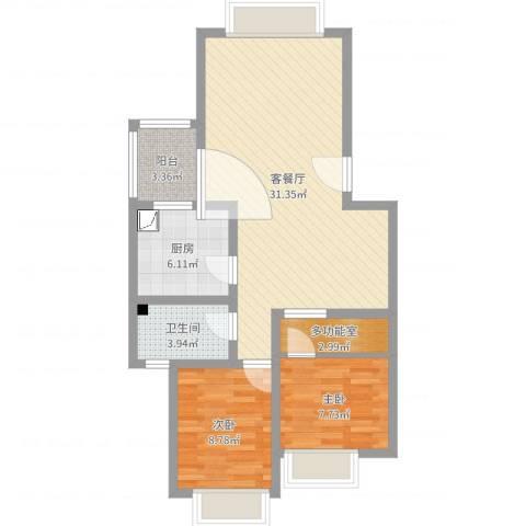 兴隆城市花园怡水园2室2厅1卫1厨80.00㎡户型图