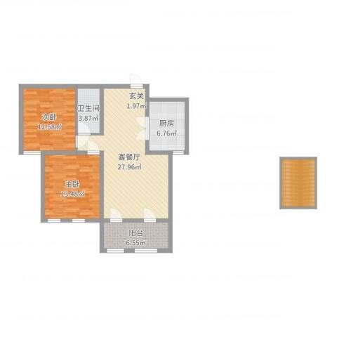 滨江国际2室2厅1卫1厨97.00㎡户型图