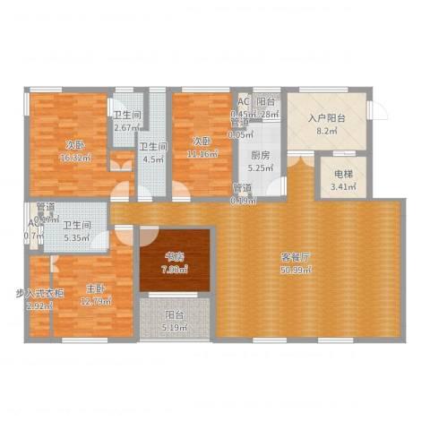 新浦江城别墅4室2厅3卫1厨174.00㎡户型图