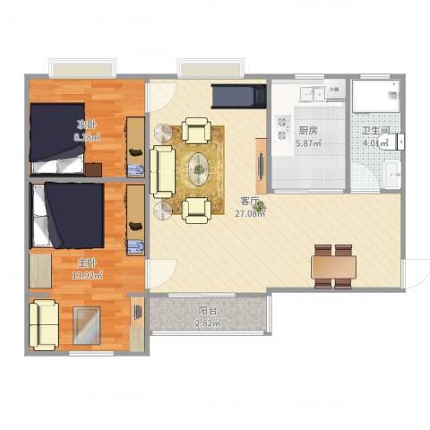 顺丰翠园2室1厅1卫1厨77.00㎡户型图