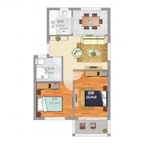 园丁小区2室2厅1卫1厨72.00㎡户型图