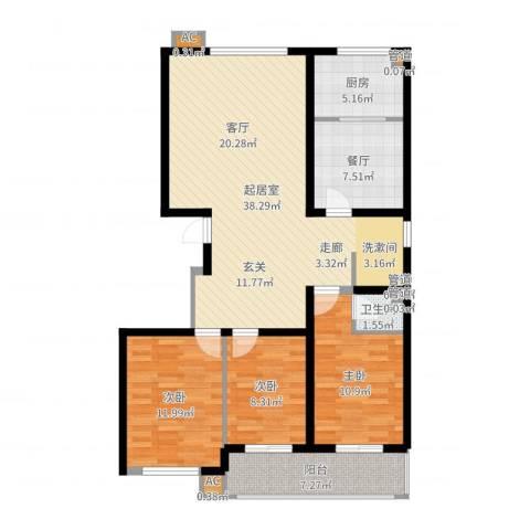 绿景城市中央3室1厅1卫1厨115.00㎡户型图