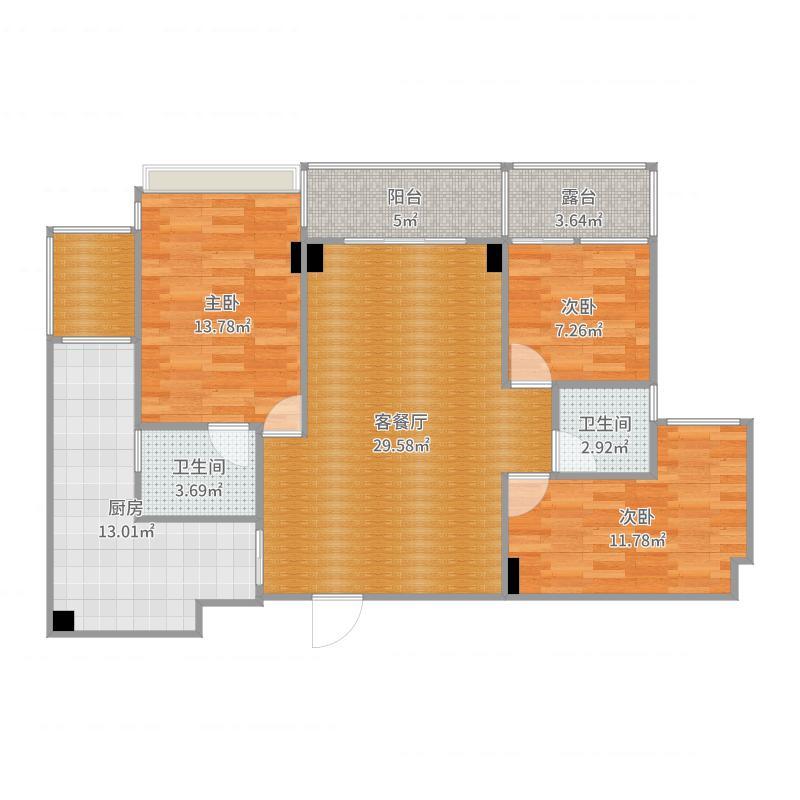 万豪公馆13栋1单元301-副本-副本户型图
