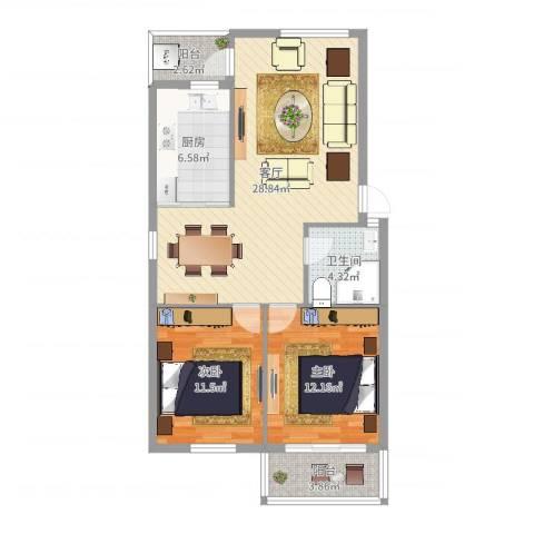 东城华园2室1厅1卫1厨87.00㎡户型图
