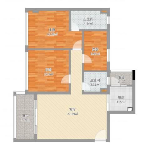 君安峰景湾3室1厅2卫1厨102.00㎡户型图