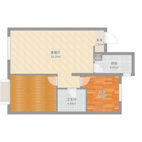 万科城・明1室2厅1卫1厨76.00㎡户型图