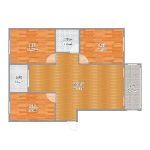 锦江华庭3室2厅1卫1厨93.00㎡户型图