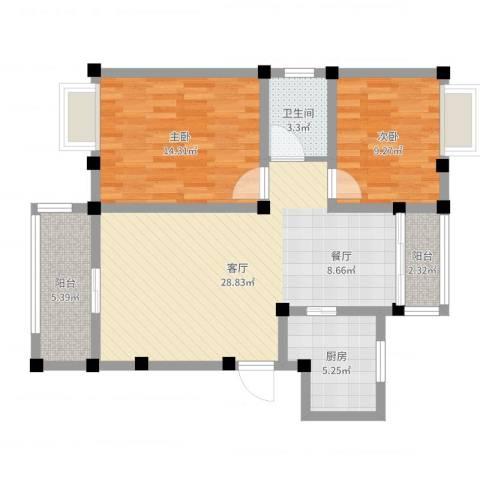 重汽翡翠东郡2室1厅1卫1厨86.00㎡户型图