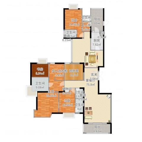 丽江花园丽波楼4室2厅5卫1厨263.00㎡户型图