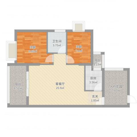 翠堤尚园2室2厅1卫1厨83.00㎡户型图