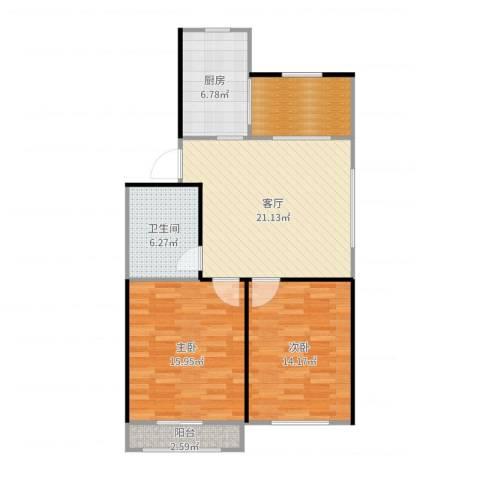 丰盈小区2室1厅1卫1厨91.00㎡户型图