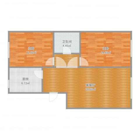 甘李药业8号楼两居2室2厅1卫1厨85.00㎡户型图