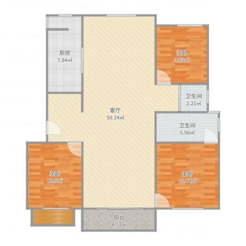 梅陇世纪苑3室1厅2卫1厨130.00㎡户型图