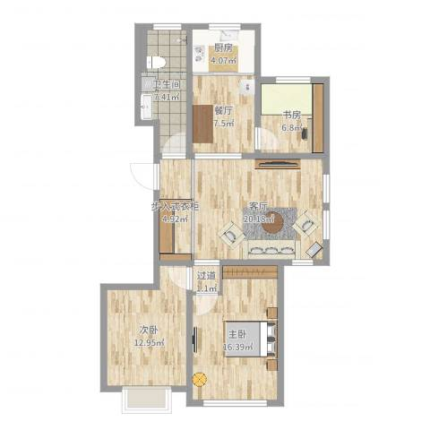 世昌华庭3室2厅1卫1厨102.00㎡户型图