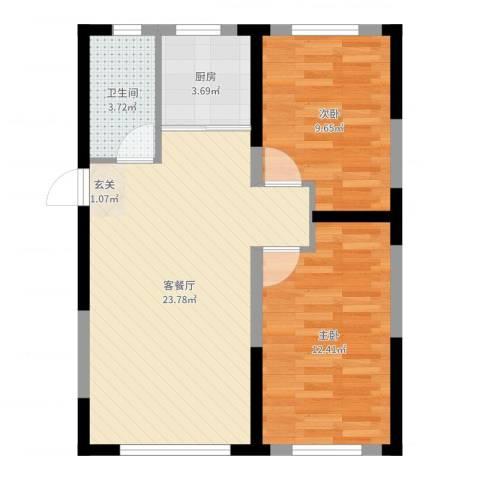万龙台北明珠2室2厅1卫1厨67.00㎡户型图