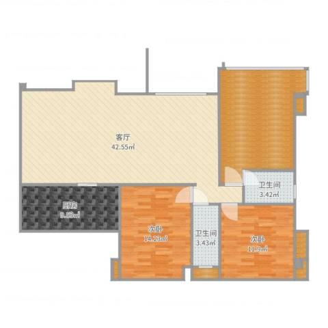 城市广场花园2室1厅2卫1厨131.00㎡户型图