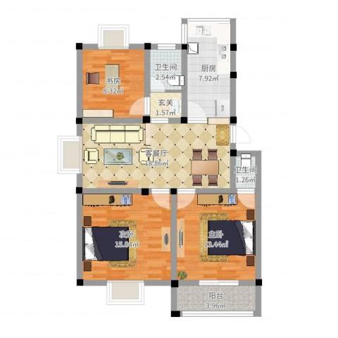 永泰家园3室2厅2卫1厨91.00㎡户型图