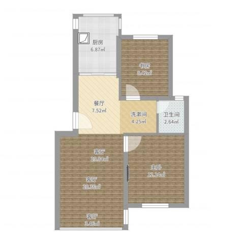 上南玲珑苑2室1厅1卫1厨75.00㎡户型图