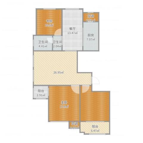 紫金・奥林花园2室1厅2卫1厨136.00㎡户型图